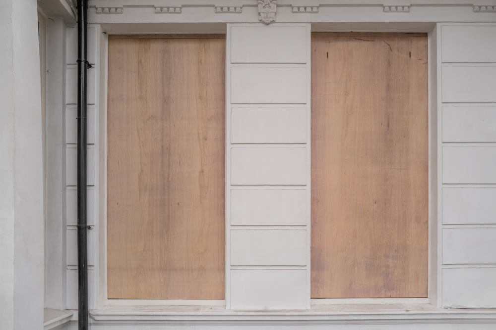 boarded up after burglary